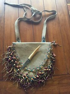 Vintage Possibles Bag  Leather Beaded with Deer Hoof Handled Knife Mountain Man