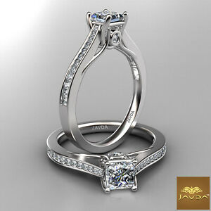 1.1ctw Trellis Style Princess Diamond Engagement Ring GIA F-VS2 White Gold Rings