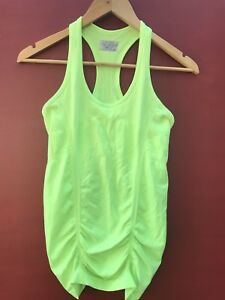 Athleta Tank Top XS Neon Green Ruched Workout Shirt Sleeveless Dry Fit Womens