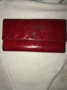 Women's BOSCA Handstained Italian Leather Wallet Trifold RED