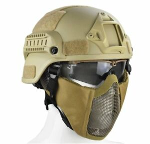 MICH 2000 STYLE TACTICAL HELMET WITH PROTECT EAR FOLDABLE HALF FACE MESH SET-TAN