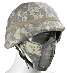 Tactical M88 ABS Helmet And cover Half Face Mesh Mask & Goggle 360°Protect (ACU)