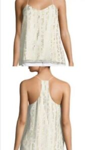 Tibi cami tank top shirt spaghetti lurex silk off white gold NWOT 6 s $ 295