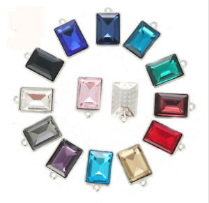30pc Mixed colors Crystal glass Stone W/Setting Charm Rectangle /Round /Teardrop