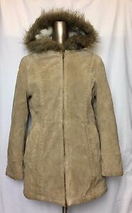 Women Wilson Leather Light Brown Suede Hoodie Full Zip Faux Fur Coat Jacket Sz S