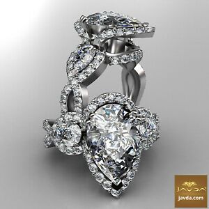 5.18ctw Antique Style Pear Diamond Engagement Ring GIA H-VS1 Platinum Women New