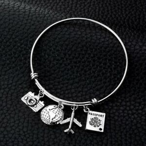 Stainless Steel Adjustable Wire Bangle Camera Globe Airplane Passport Charms