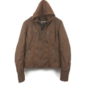Made by Johnny Women's Jacket Large Tan Brown Faux Leather Hoodie Motorcycle