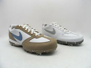 Nike Women's Leather Athletic Golf Shoes White Metallic Silver & White Tan Blue