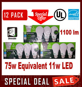12 LED Light Bulbs GREENLITE 75w Equivalent 11w Warm White 3000K A19 Dimmable