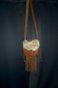 BLACK POWDER SHOOTER'S HAND MADE  LEATHER POSSIBLE BAG RABBIT FUR FLAP