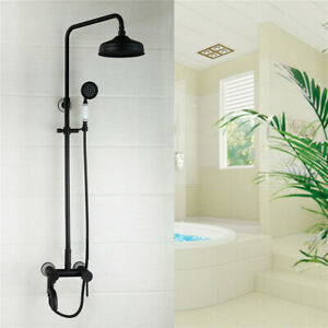 Ceramic handle&Rain Shower Head Hand Held Set Bronze With Arm Brass Faucet Valve