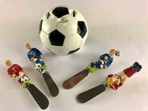 Soccer Theme Spreaders with Stand-- Cheese/Butter Spreaders (Set of 4)