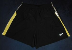 Nike Dri Fit Black Solid Reflective Stripe Short Running Shorts Mens Size Large