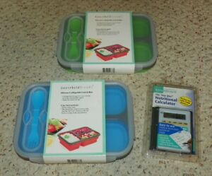 Silicone Collapsible Lunch Box Container X2 amp; Nutrition Calculator NEW