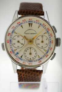 RARE Vintage 1950s Heuer for Abercrombie Fitch Auto-Graph Chronograph Watch 72C