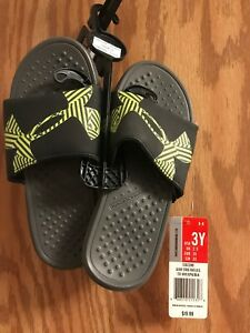 Nwt Boys Youth Black Under Armour Slides Size 3