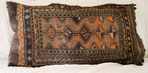 Antique Turkish Rug Pillow Woven Wool Kilim Vintage Hand Oriental Rug LARGE RARE