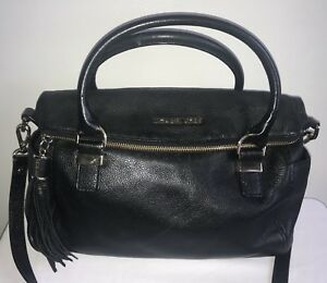 Michael Kors Weston Black Pebble Leather Foldover Satchel Bag W Shoulder Strap
