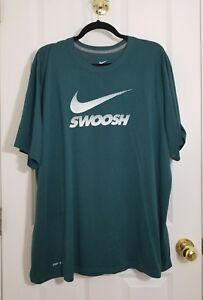 NIKE DRI FIT Large SWOOSH Graphic Polyester Athletic T-Shirt - Men's 2XL Tall