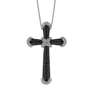 White Gold K18 Fine Necklace Jewelry White and Black Diamond Cross Pendant