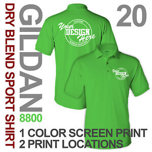 20 Custom Screen Printed Sport Shirts polo 1 ink color 2 locations S-XL