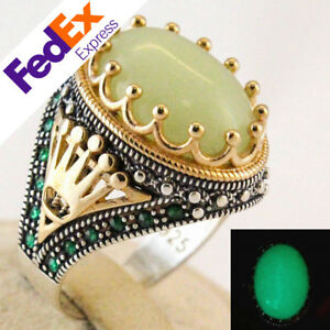 Special Natural Luminous Stone Glow in Dark 925 Sterling Silver Turkish Men Ring