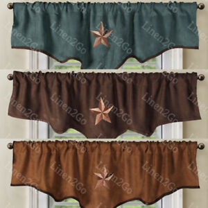 Texas Western Embroidery Star Suede Valance Curtain Panel - 3 Styles - 60