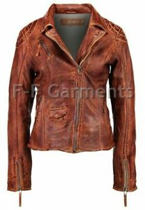 Women's Distressed Antique Brown Cafe Racer Vintage Biker Leather Jacket