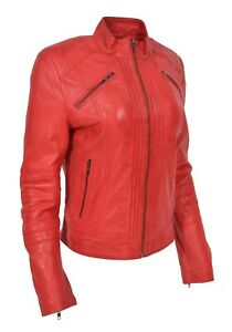 Womens Genuine Red Leather Biker Style Jacket Girls Zip Up Fitted Casual Coat
