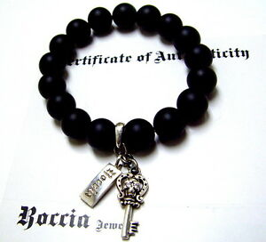 Men's Real White  Diamond Skull Bracelet With Black Onyx Beads Strech by Roccia