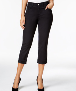 Lee Platinum Womens Capri Pants Easy Fit Cameron Cuffed Cropped Jeans Black $56