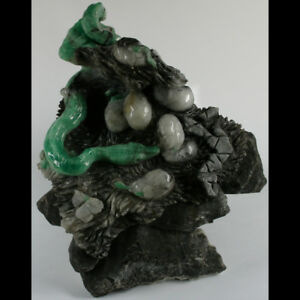 1.64 kg Superb Unrivaled EMERALD and CALCITE in MATRIX Snake and Hatching Eggs