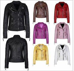 Women's 100% Genuine Lambskin Napa Leather Jacket Motorcycle Winter Biker Jacket