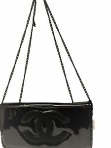New Chanel Crossbody Black Patent Chain Bag Gift WBeauty VIP WOC