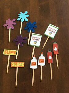 12 Slime Party Theme Dozen Cupcake Toppers/Food picks/Birthday Party Decorations