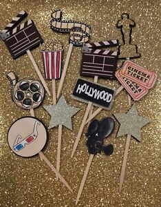 12 Movie Cinema Hollywood Party Cupcake Toppers/Food picks/Theme/Oscars
