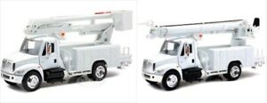 YOUR LOGO! New Ray 143 Int'l 4200 Utility Bucket AND Digger Truck Models Toy