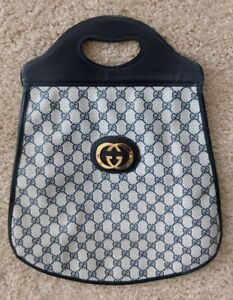 Large Vintage Gucci Shopper Tote Handbag Travel Bag Blue Monogram Leather Canvas