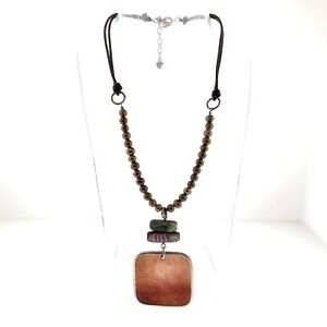 Vintage Silpada Agate Pearl Leather Necklace Choker