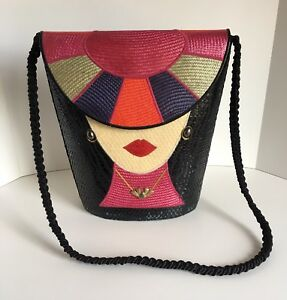 Unique Black Straw Flap Top Handbag Asian Lady with Hat design