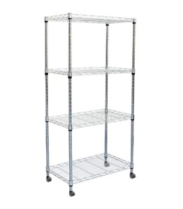 Metal Storage Shelves 49 in H x 23 in W x 13 in L 4-Tier Rack with Wheels Silver