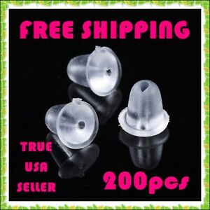 200pc 4mm Clear Rubber Silicone Plastic Earring Backs Stopper Post Nut FREE SHIP $2.29