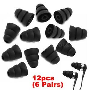 6 Pairs In-Ear Earplug Silicone Triple Flange Earbuds Ear Tips Replacement M8Z3