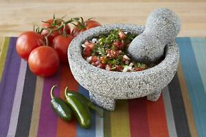 Authentic Mexican Molcajete Lava Granite Mortar Pestle Spice Grinder Guacamole