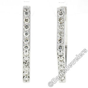 14K White Gold 2.0ct Pave Round Diamond Geometric Hoop Huggie Snap Back Earrings