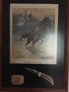"""SMITH & WESSON KNIFE BUCKLE AND PRINT OF """"THE HOSTILES"""" By Dan Smith"""