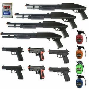 MEGA AIRSOFT PARTY PACKAGE - 10 DOA 6mm Airsoft Guns Rifles + Zombie Targets BBs