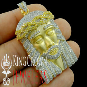 3 Tone 10K Yellow Gold Over Real Silver Jesus Face Charm Diamond Pendant 2.25quot;