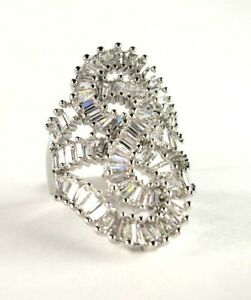 White Topaz simulated gemstone ladies silver designer ring size 7.25 R*15744